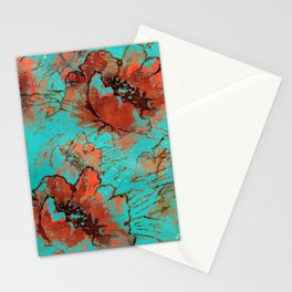 Abstract pink orange turquoise watercolor poppies Stationery Cards