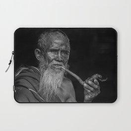 Portrait of an Elderly Man Smoking Pipe Laptop Sleeve