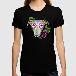 Greyhound - Whippet - Day of the Dead Sugar Skull Dog T-shirt