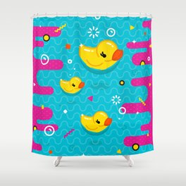 Rubber Ducky Party Time Shower Curtain