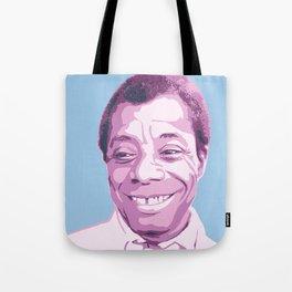 James Baldwin Portrait Blue Purple Tote Bag