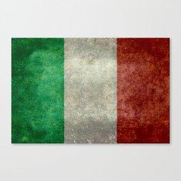 Italian flag, vintage retro style Canvas Print