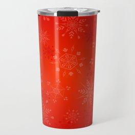Christmas Gold Snowflakes on Red Background Travel Mug