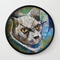 space cat Wall Clocks featuring Space Cat by Michael Creese