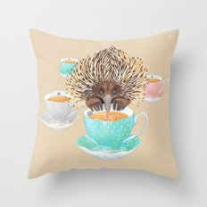 Echidna Drinking Tea Throw Pillow