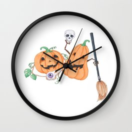 Cute Halloween Pumpkins Wall Clock
