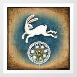 Rabbit with dandelion Art Print