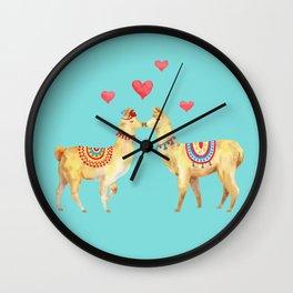 Llamas in llove 1 turquoise Wall Clock