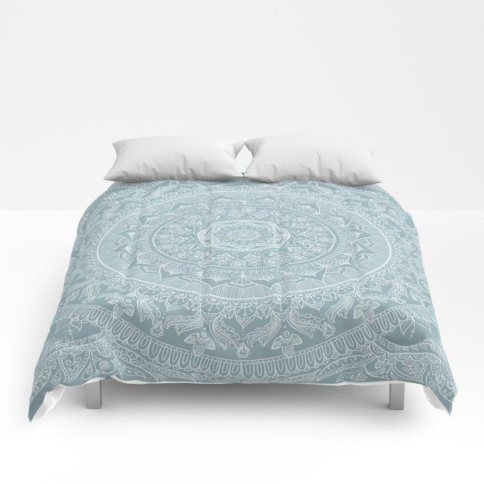 Mandala - Soft turquoise Comforters