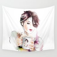 cup Wall Tapestries featuring cup by tatiana-teni