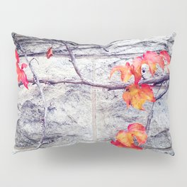 Red Leaves Growing by the Wall. Autumn Pillow Sham