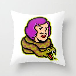 Circus Freak Snake Lady Mascot Throw Pillow