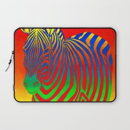 Colorful Psychedelic Rainbow Zebra Laptop Sleeve