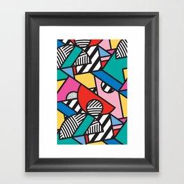 Colorful Memphis Modern Geometric Shapes - Tribal Kente African Aztec Framed Art Print
