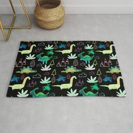 Dino Fun land Black Rug