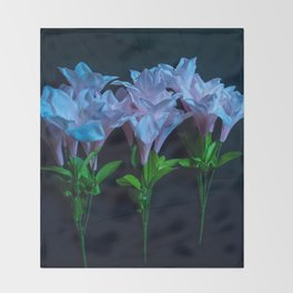 pink and blue flowers on black Throw Blanket
