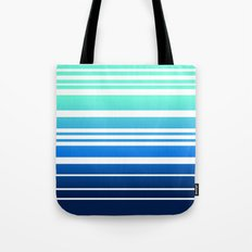 Bay Ombre Stripe: Mint Navy Tote Bag