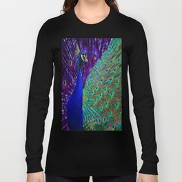 Purple-Blue Peacock & Tail Art Design Long Sleeve T-shirt
