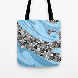 Blue Waves Abstract Mermaid Scales Pattern Tote Bag
