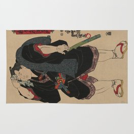 Sumo Wrestler Japanese Woodcut Block Print Rug