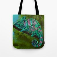 chameleon Tote Bags featuring Chameleon by Ben Geiger