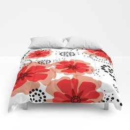 PEPPER POPPIES   red Comforters