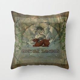 The dragons with vintage background Throw Pillow