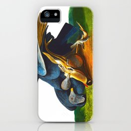 Black Vulture or Carrion Crow Eating a Dead Deer iPhone Case