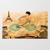 """tour de france Area & Throw Rugs featuring Monsieur Bone and """" le  Tour de France """" by Ganech joe"""