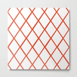 Diamond Pattern Burnt Orange Metal Print