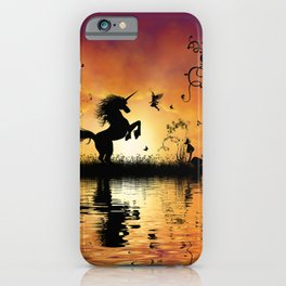 Wonderful unicorn with fairy in the sunset iPhone Case