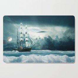 Blue Ocean Ship Storm Clouds Cutting Board