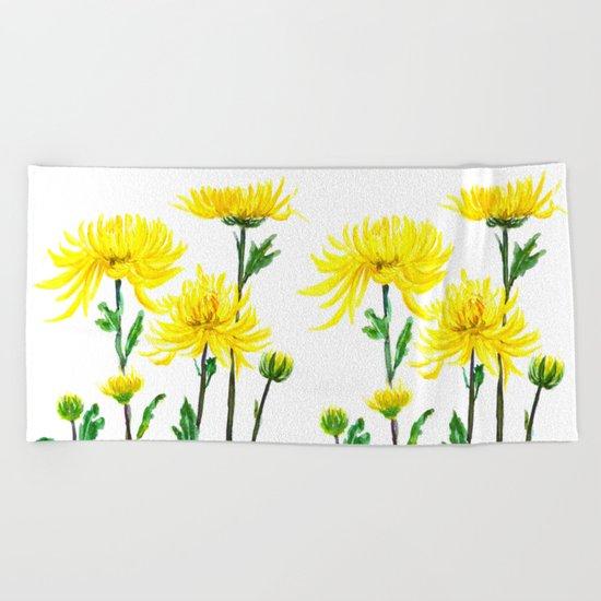 yellow chrysanthemum Beach Towel