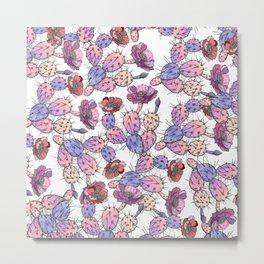 Modern vintage pink lavender watercolor cactus floral Metal Print