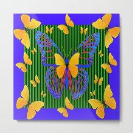 YELLOW BUTTERFLIES  BLUE MODERN ART DESIGN Metal Print