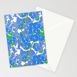 Morning Glory + Bluebells in White Stationery Cards