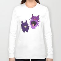 gengar Long Sleeve T-shirts featuring Gastly, Haunter, and Gengar by BritAndBran