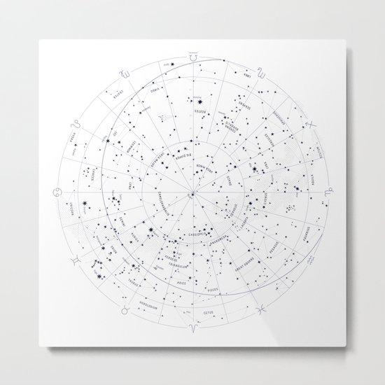 Constellation Map - White and Indigo Metal Print