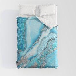 Liquid Marble -Blue quartz and gemstones Comforters