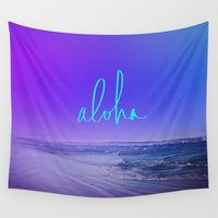 aloha Wall Tapestries featuring Aloha by Leah Flores