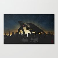 pacific rim Canvas Prints featuring Kaiju Warriors - Pacific Rim by MrMauro