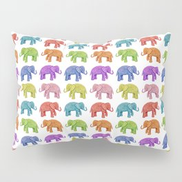 Colorful Parade of Elephants in Red, Orange, Yellow, Green, Blue, Purple and Pink Pillow Sham