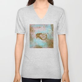 Faux Gold Glitter- REAL LIFE MERMAID On Sea Foam Unisex V-Neck