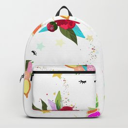 Magical Unicorn Colorful Shining Pattern With White Background Backpack