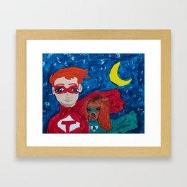 ~ Superhero Boy and His Loyal Sidekick ~ Redhead & Ruby King Charles Cavalier Spaniel Framed Art Print