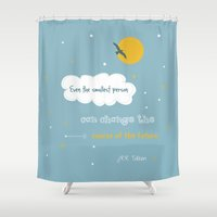 tolkien Shower Curtains featuring Even the smallest person - quote by Tolkien by Dickens ink.