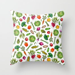 Vegetable Garden - Summer Pattern With Colorful Veggies Throw Pillow