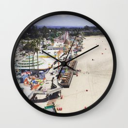 Santa Cruz Boardwalks Aerial View Wall Clock