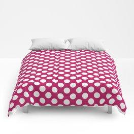 White and raspberry polka dots Comforters