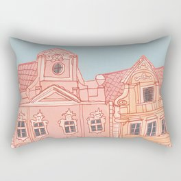 Whimsical Pink Buildings in Europe Rectangular Pillow